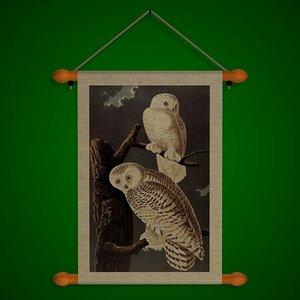 wall snowy owl fr 3d model