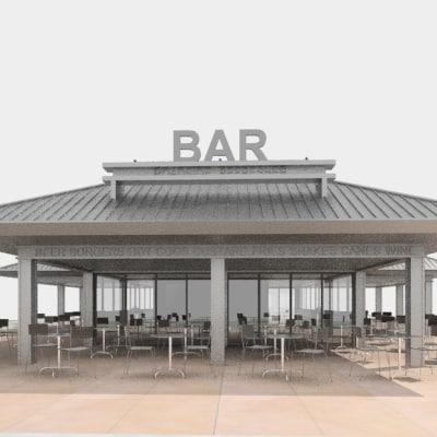3d model bar outdoors