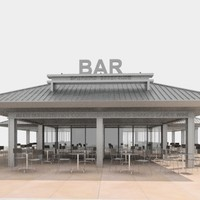 3d model bar outdoors