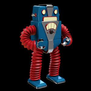 3d model fifties retro robot