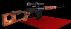 soviet svd sniper rifle 3d model