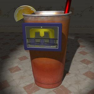 3d multimedia kiosk tea cup model