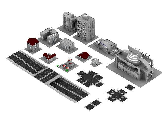 buildings houses street 3d model