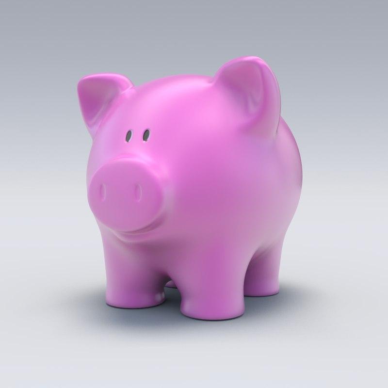 3d obj piggy bank