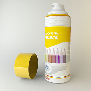spray cans wall 3d model