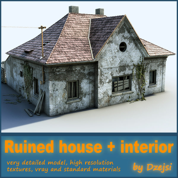 ruined house interior 3d model