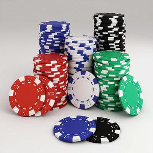 poker chips stack 3d model
