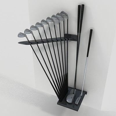 3d set golf clubs model