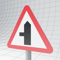 3d model traffic road ahead left
