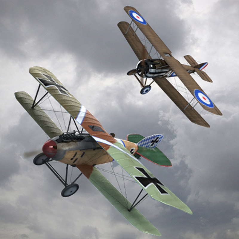 3d dogfight ww1 fighter planes model