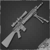 5 rifle mk12 mod 3d model
