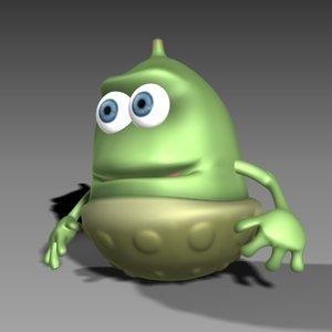 cute acorn character bone 3d model