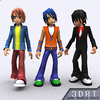 3d umi anime boys characters rigged