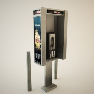 truax studio payphone phone booth 3d 3ds