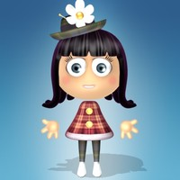 cute cartoon girl character 3d model