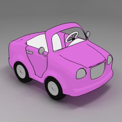 cartoon car cabriolet toon 3d model