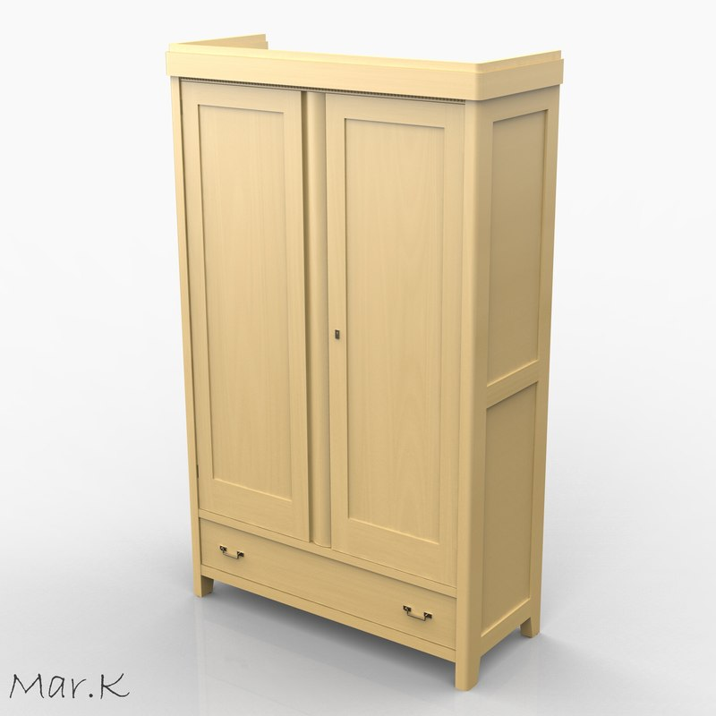 wardrobe art nouveau 3d model