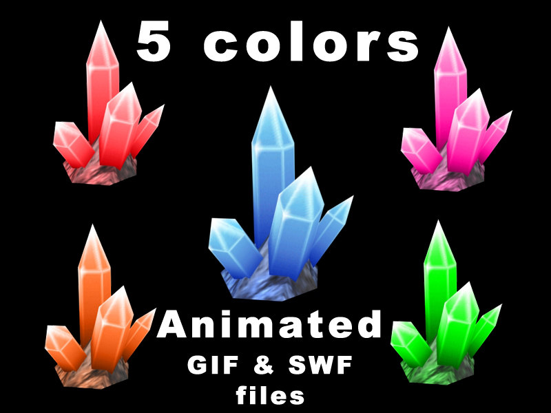3d max fantasy crystals games swf animation
