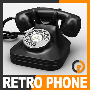 3d model retro style telephone -