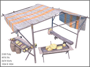 cheese stall 3d model