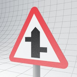 3d traffic staggered junction ahead
