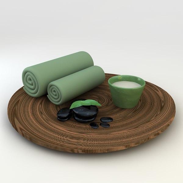 3d massage spa stone oil model
