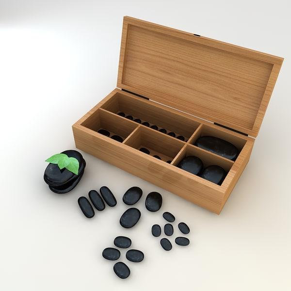 massage stones box 3d obj