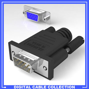 vga monitor connector female 3d model