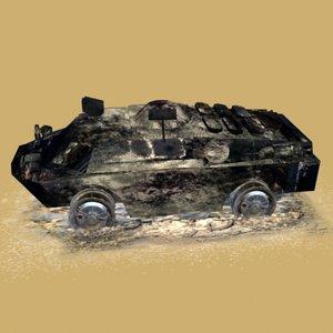 3d model burned brdm3