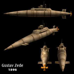 3d model of submarine zede