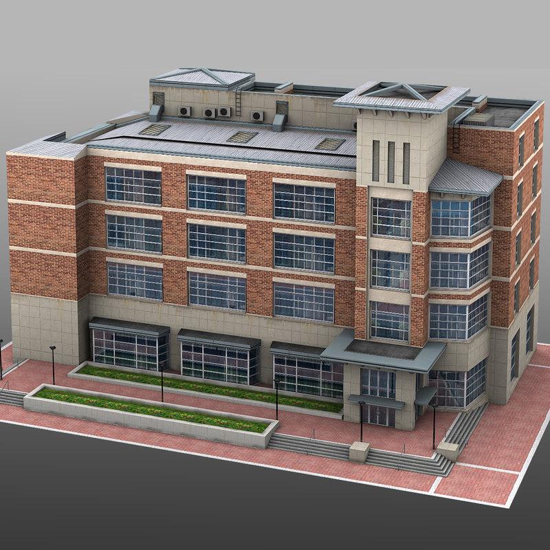 building school collage 3d model