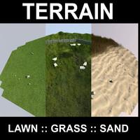 terrain grass flowers 3d max