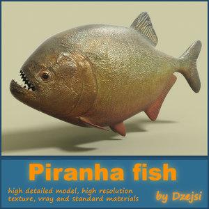 3d model dangerous piranha fish
