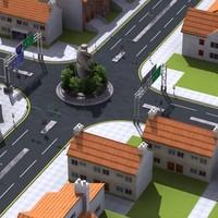 3D residential street