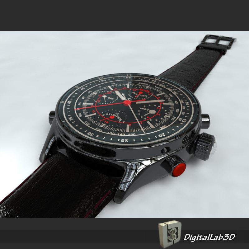 chrono watch 3d model