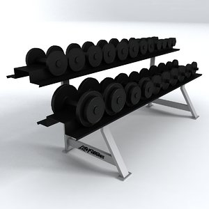 gym equipment dumbells 3d model