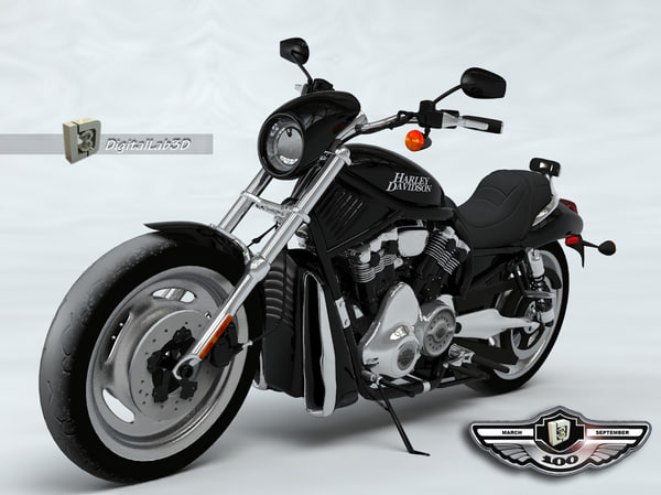 3d model harley black knight motorcycle