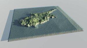 island terrain 3d model