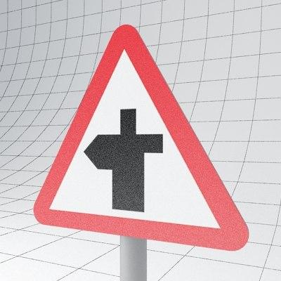 traffic crossroads - sign 3d 3ds