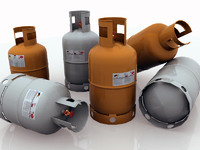 set 3 propane tanks 3d ma