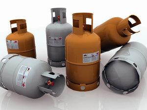 set 3 propane tanks 3d ma