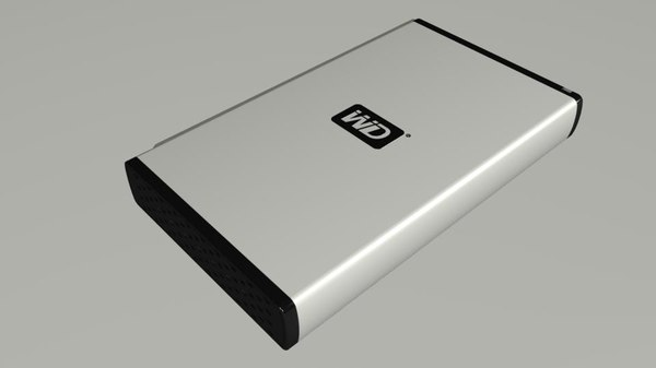 western digital external hard drive 3d model