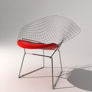 3d model bertoia diamond chair design