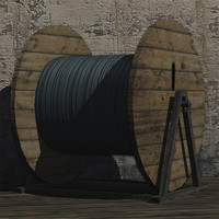 3d cable drum prop model