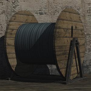 3d cable drum prop model