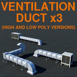 3d ventilation ducts rooftop vent model
