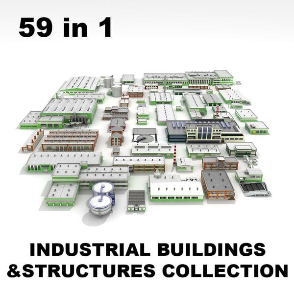 3d industrial commercial buildings structures