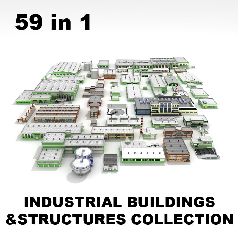 3d industrial commercial buildings structures