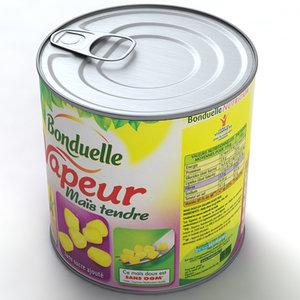 3d canned corn food model