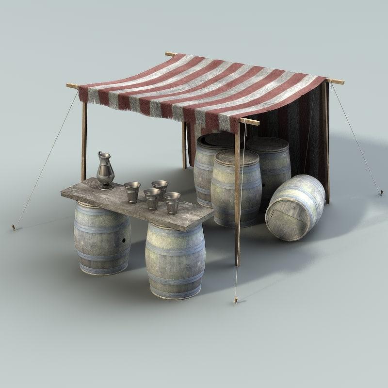 3d model market stall wine